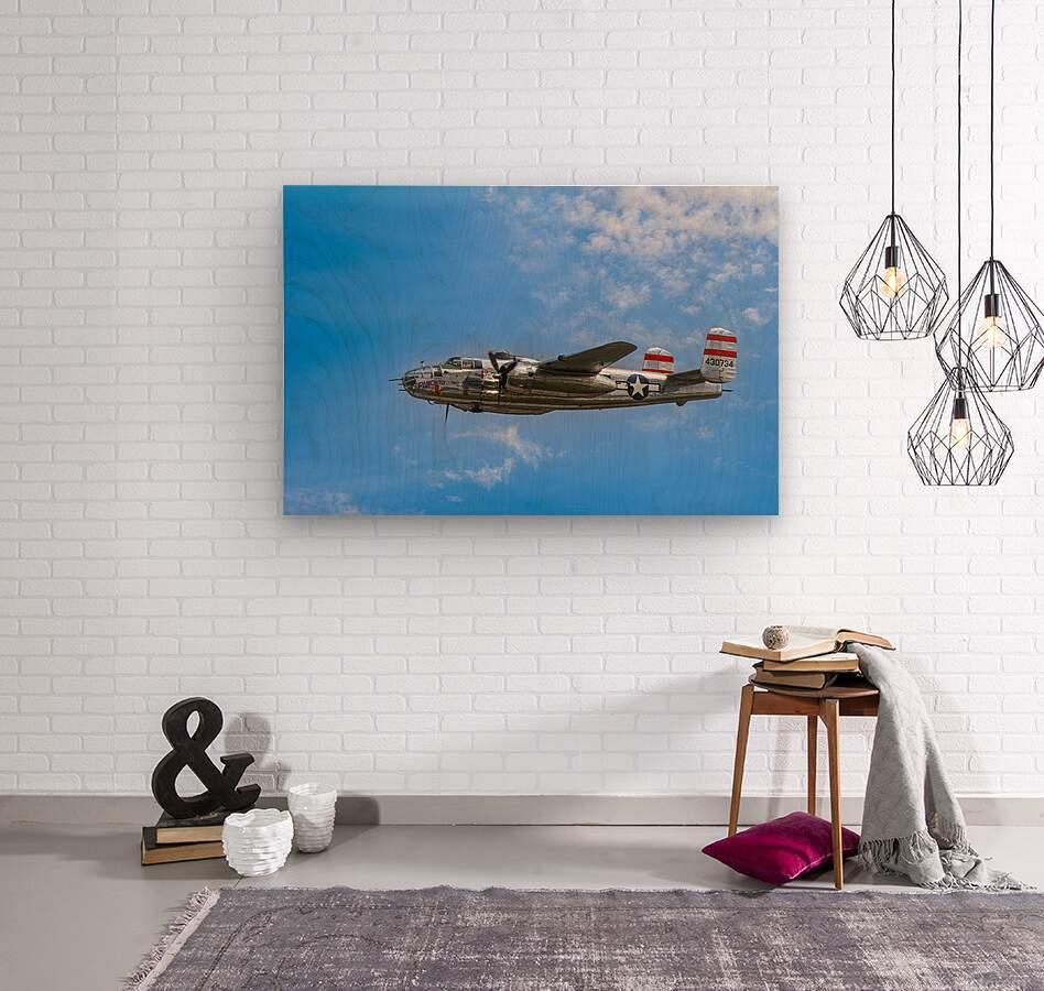 Panchito B25 In Flight  Wood print
