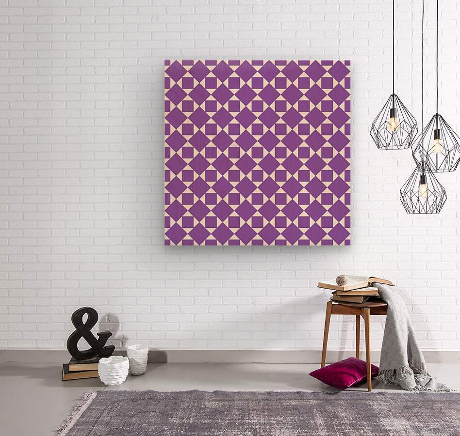 Purple Geometric Pattern  Wood print