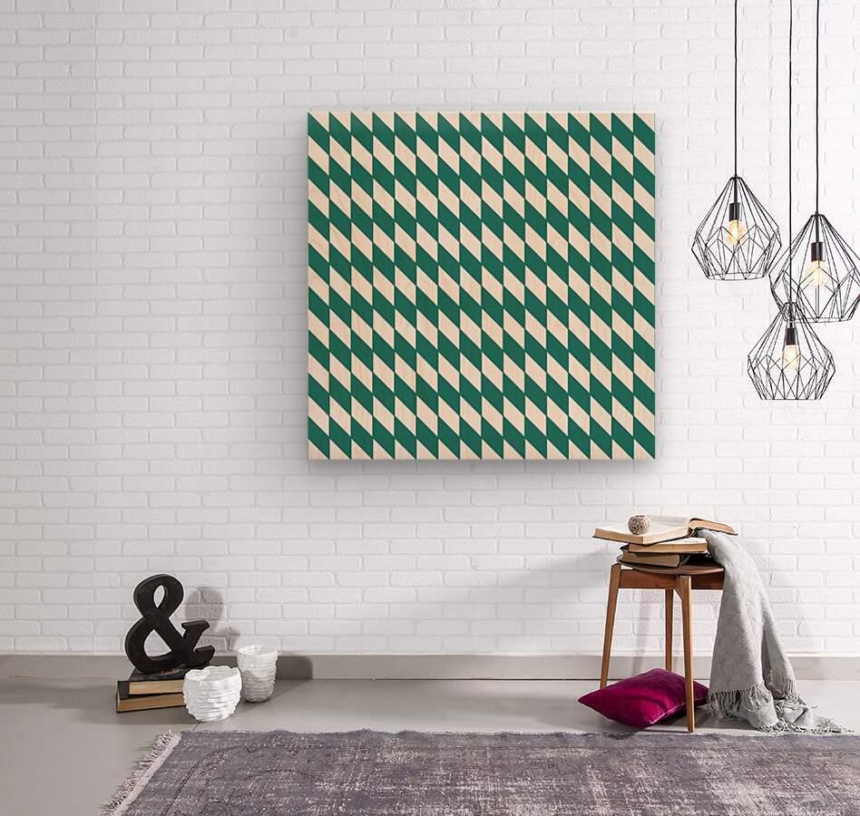 Dark Green Checkers Pattern  Wood print