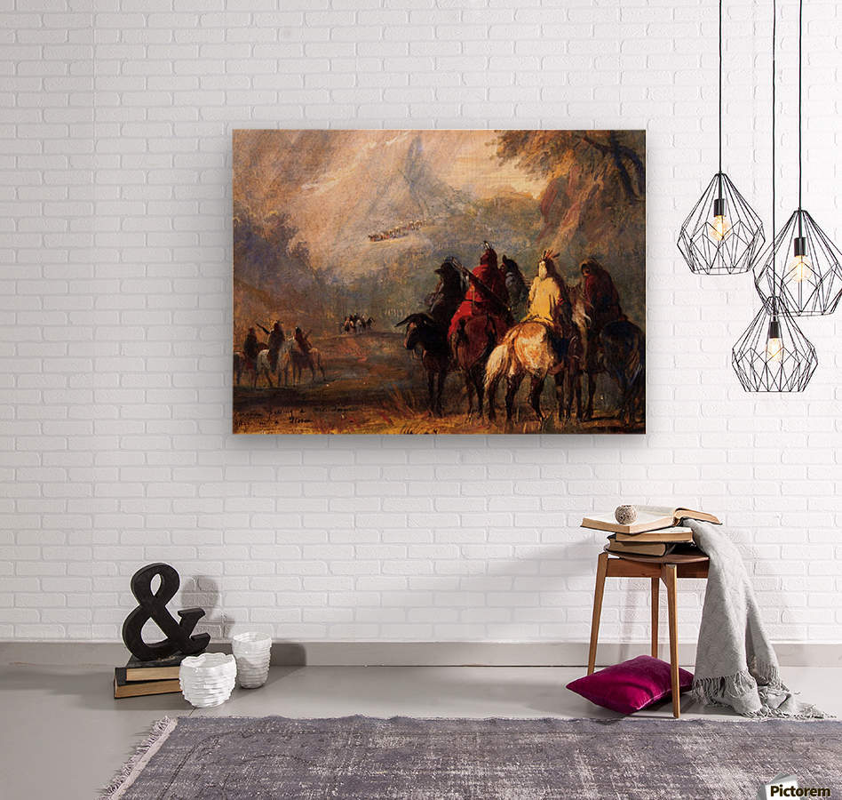 Caravan Passing a Mountain Gorge in a Storm  Wood print