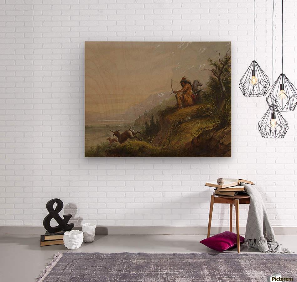 A Pawnee Indian shooting antelopes  Wood print