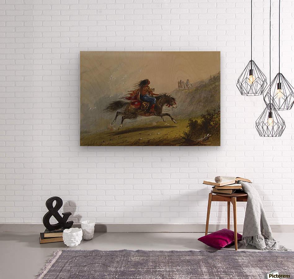 An Indian girl on horseback  Wood print