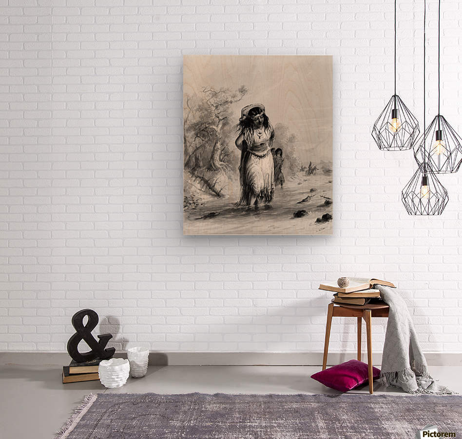 Indian Girl with Papoose Crossing  Wood print