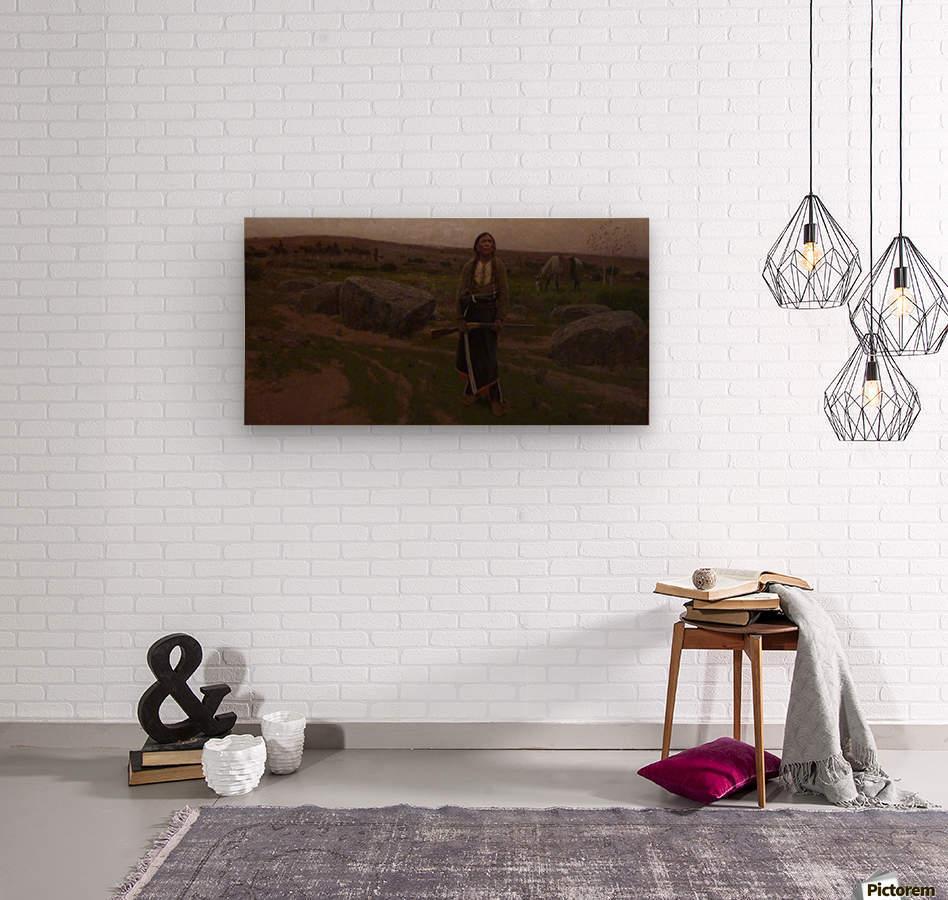 Indian woman at hunt  Wood print