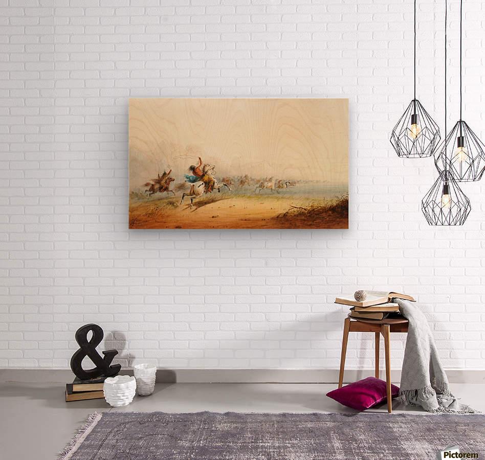 Lassoing Horses  Wood print
