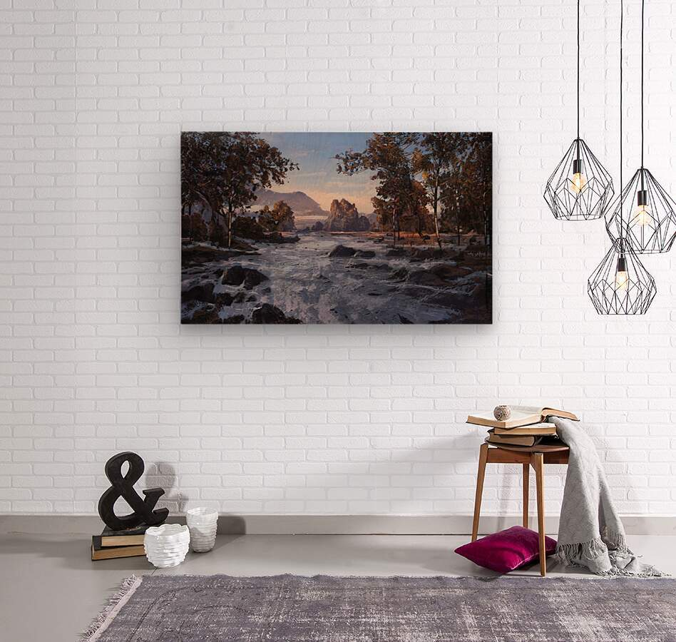 River rolling over stones  Wood print