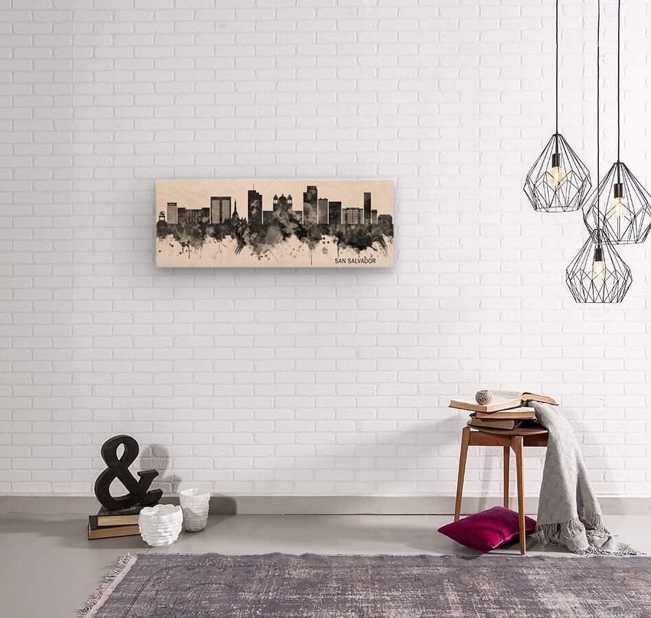 San Salvador Skyline BW  Wood print
