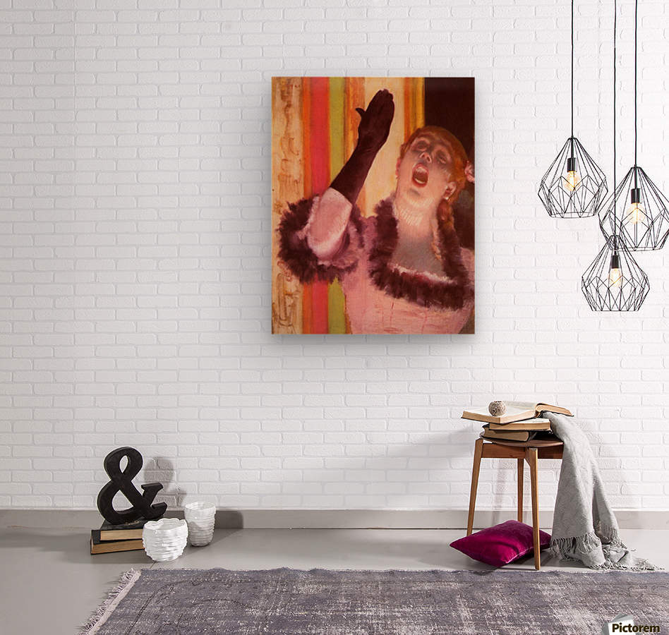 The singer with the glove by Degas  Wood print