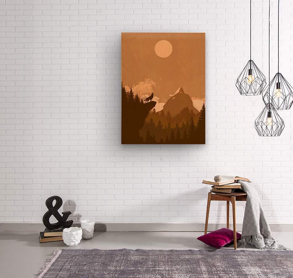 Mountain Wolf Day  Wood print