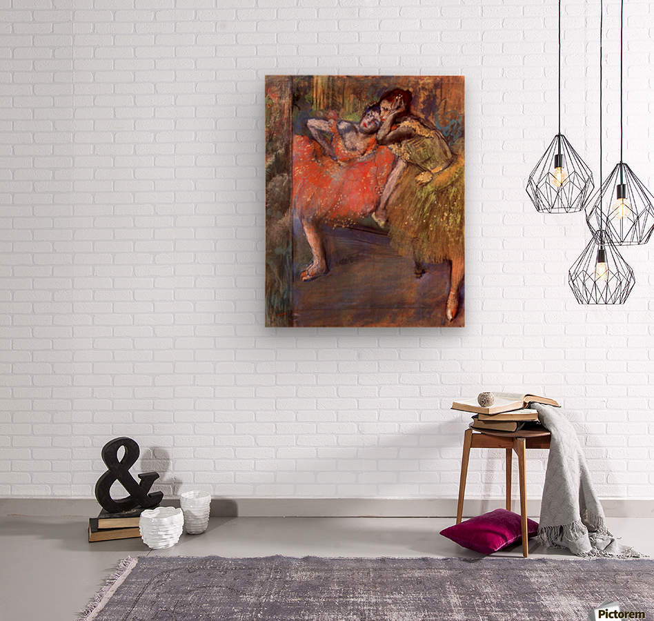 Two dancers behind the scenes by Degas  Wood print