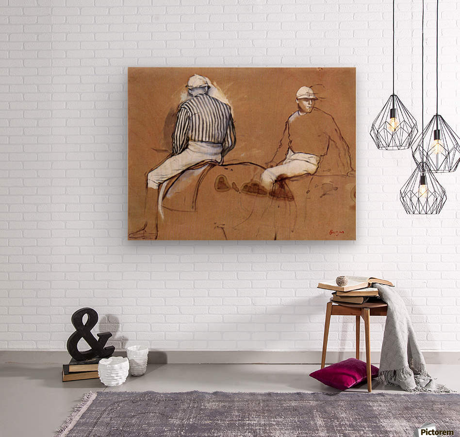 Two jockeys by Degas  Wood print