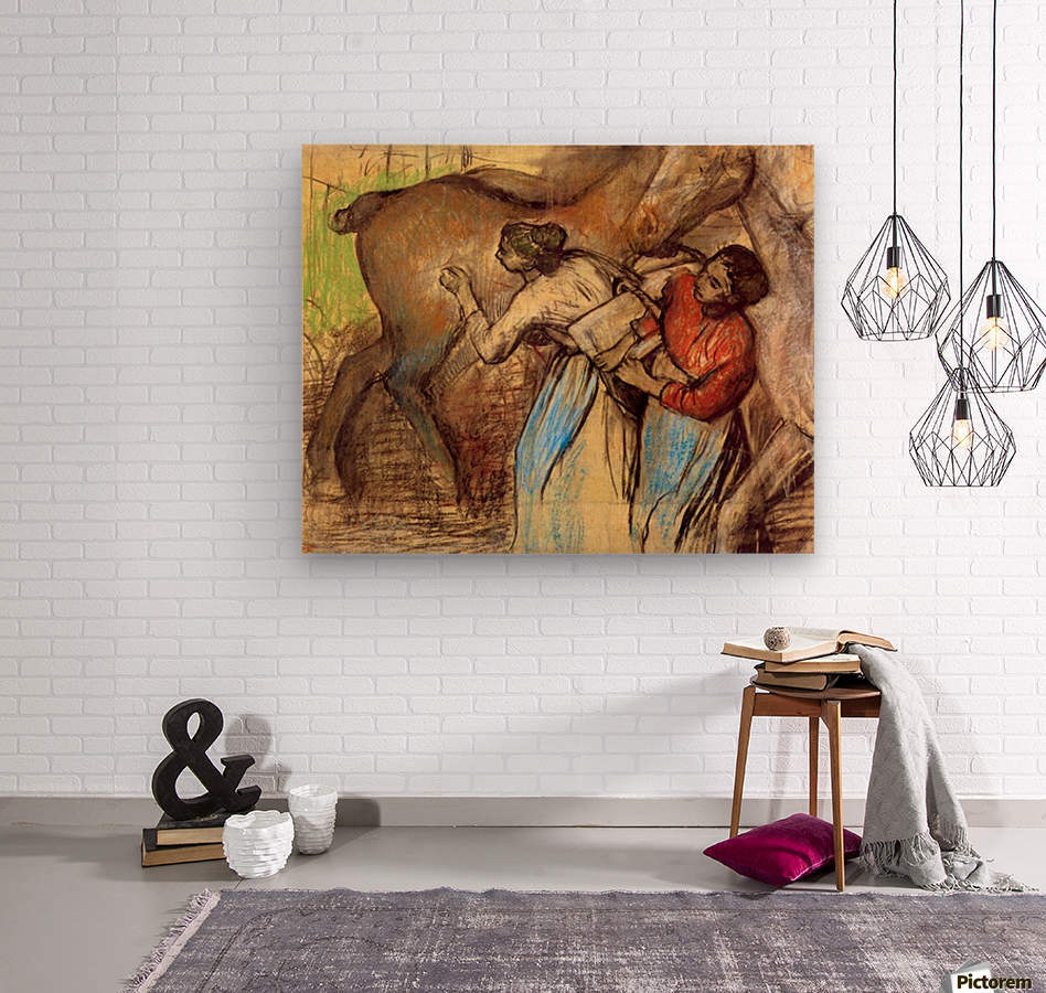 Two women washing horses by Degas  Wood print