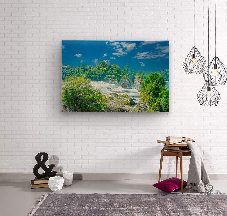 Beautiful Day at Rheinfall Switzerland 1 of 2  Wood print