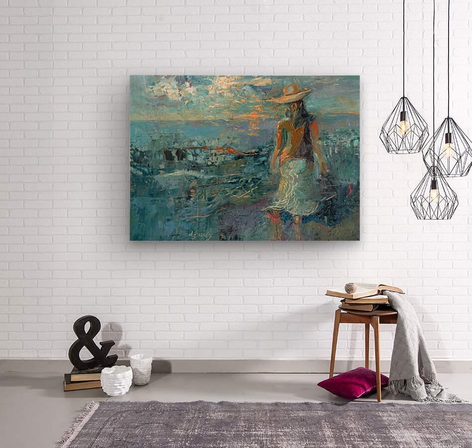 Woman on a Twilight Beach  Wood print