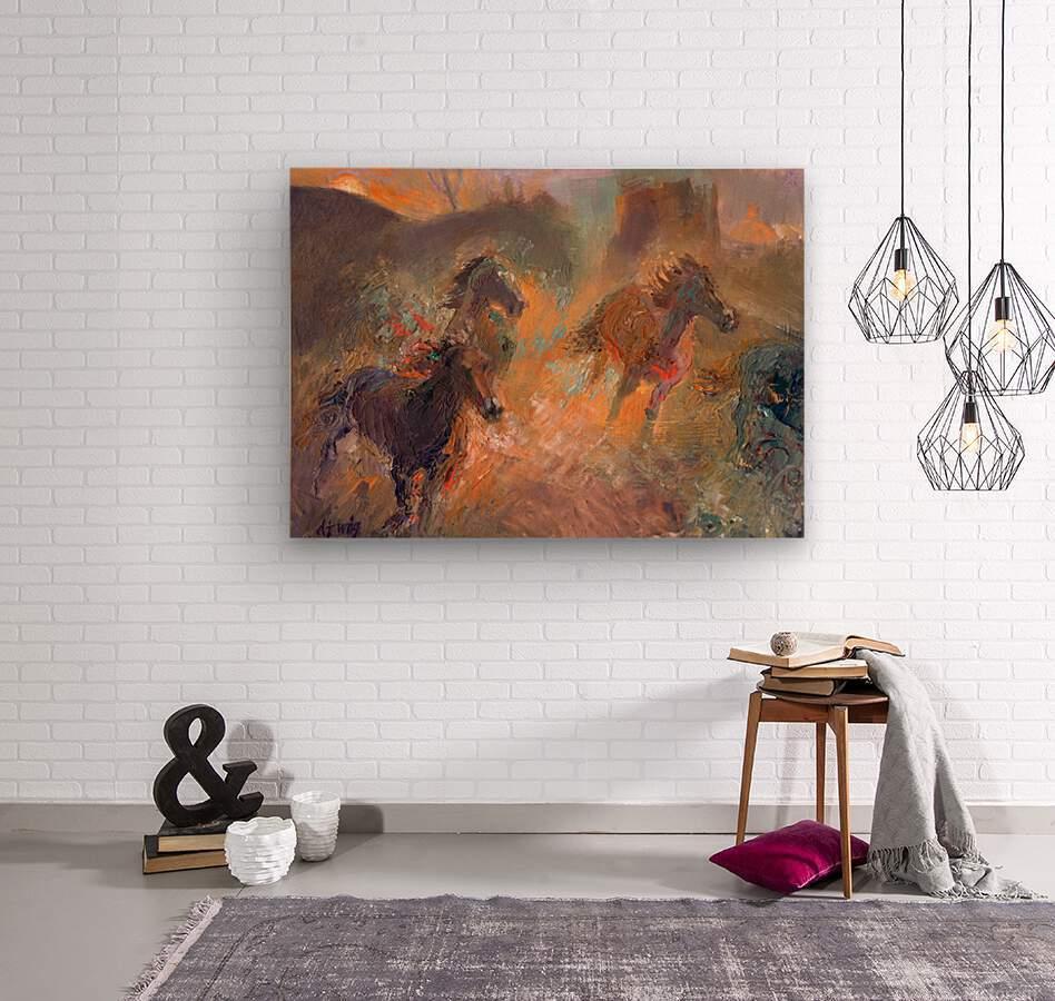 Wild Horses Sun Dust  Wood print