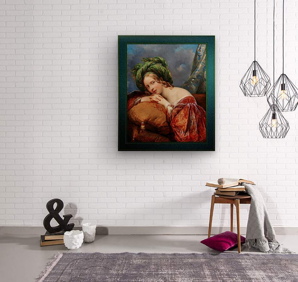Dame Mit Grunem Turban by Aimee Pages-Brune Classical Fine Art Xzendor7 Old Masters Reproductions  Wood print