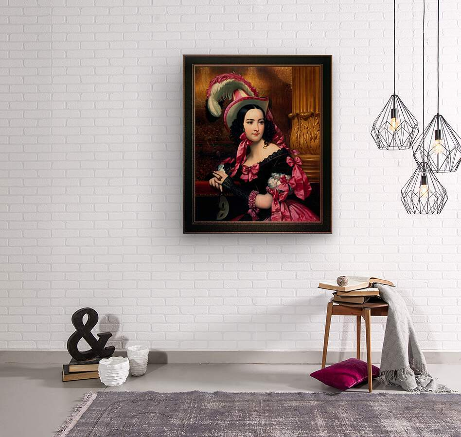 The Venetian At The Mask Ball by Joseph-Desire Court Classical Fine Art Xzendor7 Old Masters Reproductions  Wood print