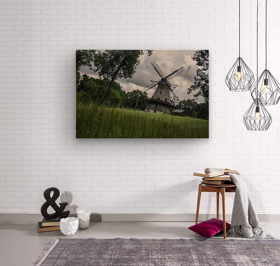 Windmill in a Storm  Wood print
