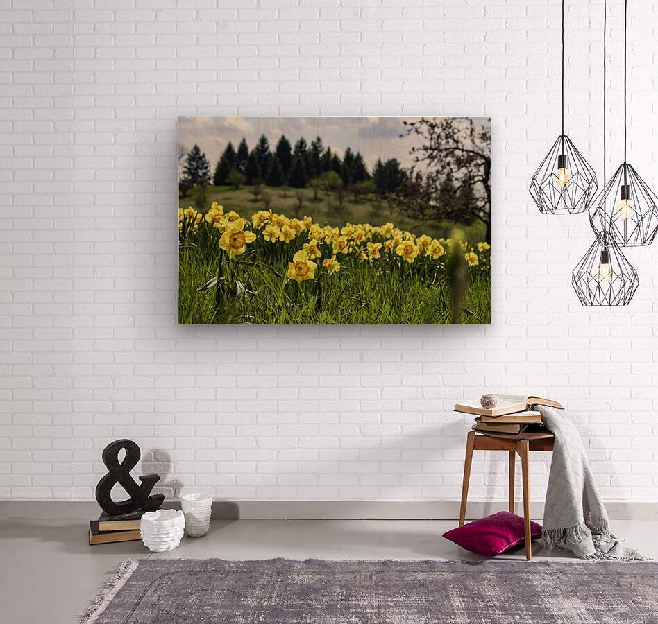 Flowers on the Hills  Wood print
