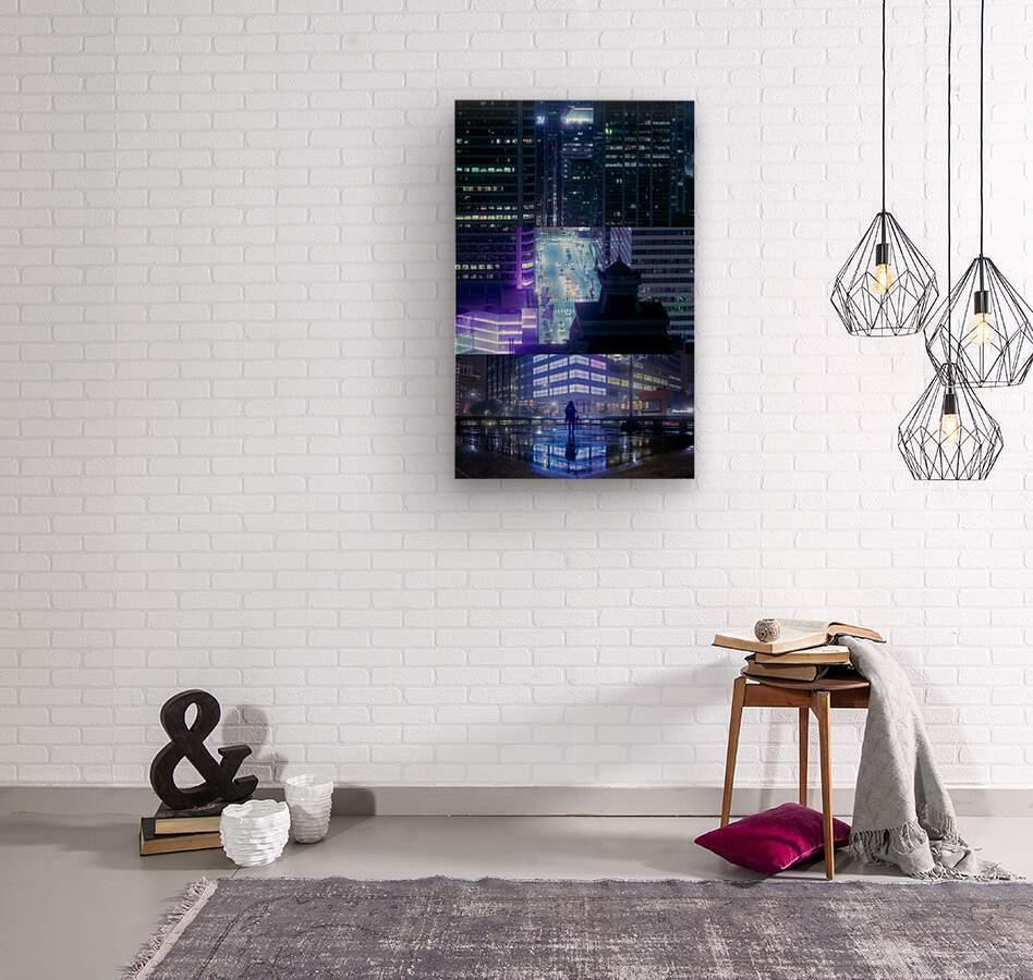 Nocturne City  Wood print