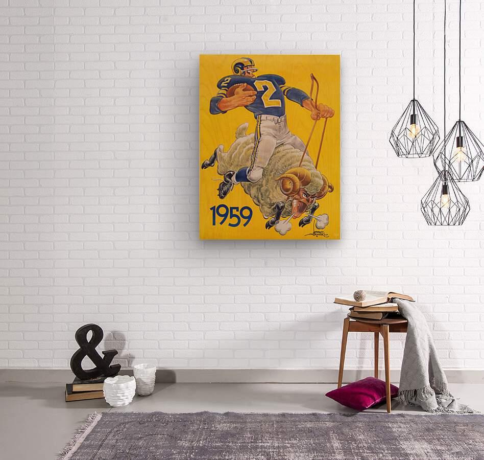 1959 LA Rams Karl Hubenthal Art  Wood print