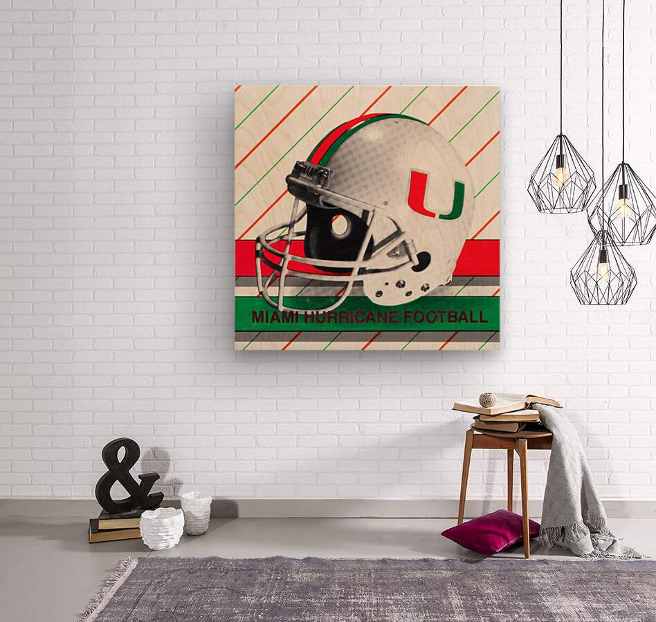 Retro Miami Hurricane Football Helmet Art  Wood print