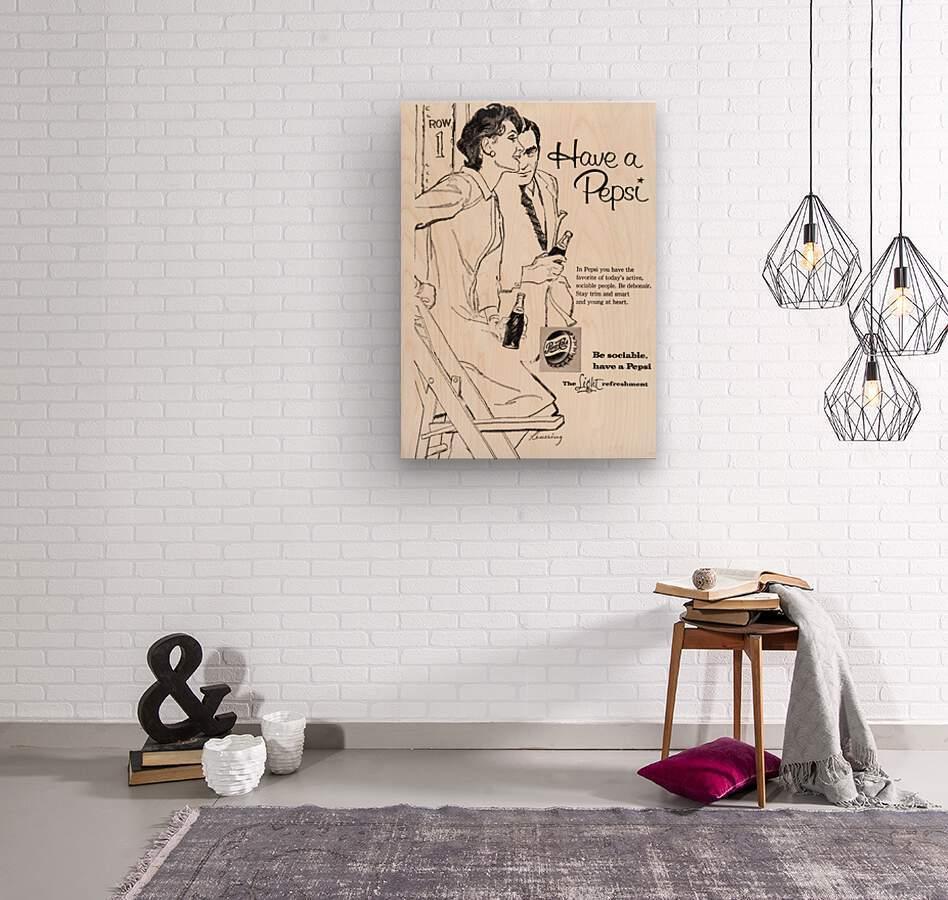 1960 Pepsi Advertisement Poster  Wood print