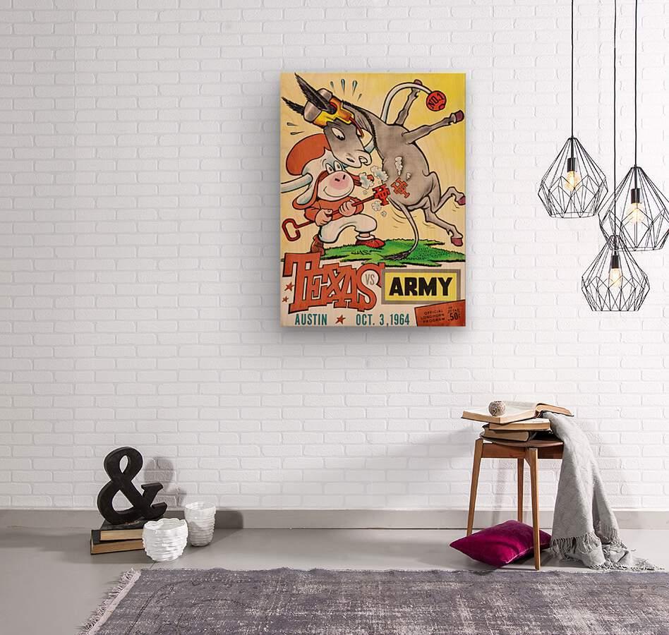 1964 Army vs. Texas Longhorns Football Program Art  Wood print