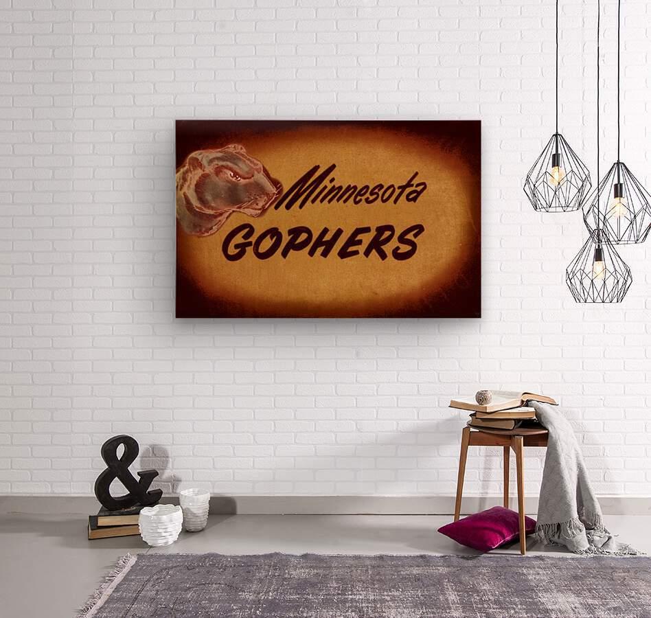 1950 Vintage Minnesota Golden Gopher Art  Wood print