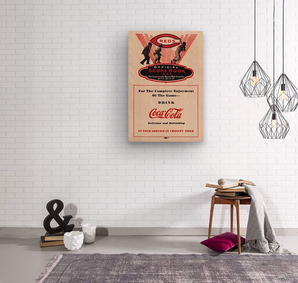 1934 Cincinnati Reds Score Book & Coke Ad  Wood print
