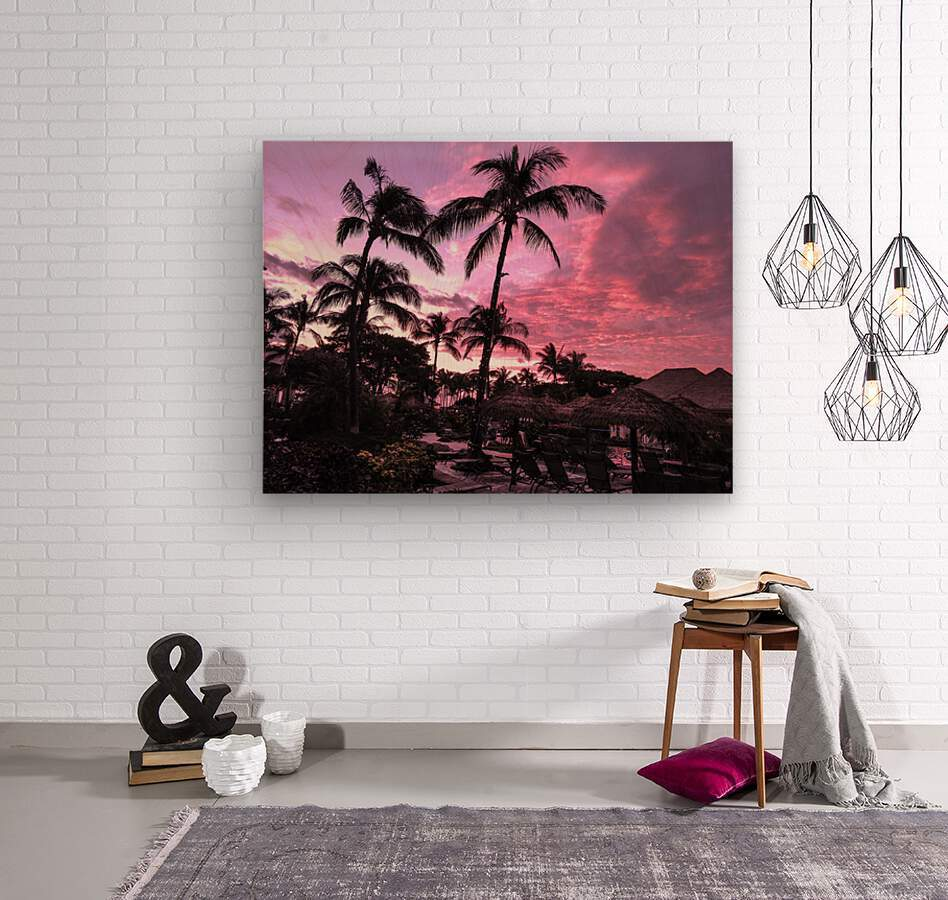 After the Beach Party - Tropical Sunset Hawaii  Wood print