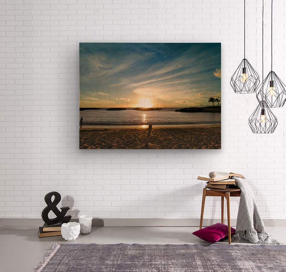By the Fading Light of the Sun - Tropical Sunset Hawaii  Wood print
