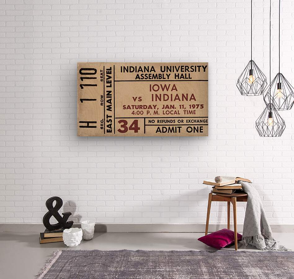 1975 Indiana vs. Iowa Basketball Ticket Metal Sign  Wood print