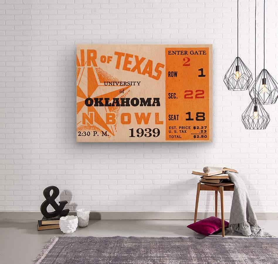 1939 Texas Longhorns vs. Oklahoma Sooners  Wood print
