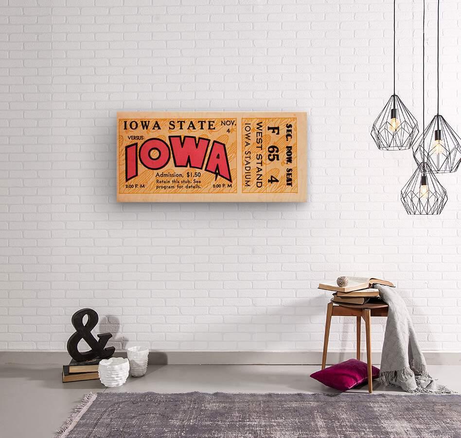 1933 Iowa State vs. Iowa Football Ticket Art  Wood print