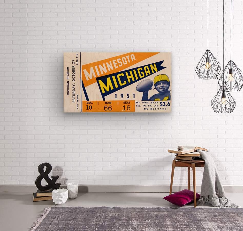 1951 Michigan vs. Minnesota Football Ticket Art  Wood print
