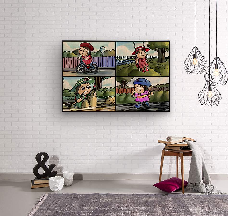 Lass the Ladybug in Action   4 panel Favorites for Kids Room and Nursery   Bugville Critters  Wood print