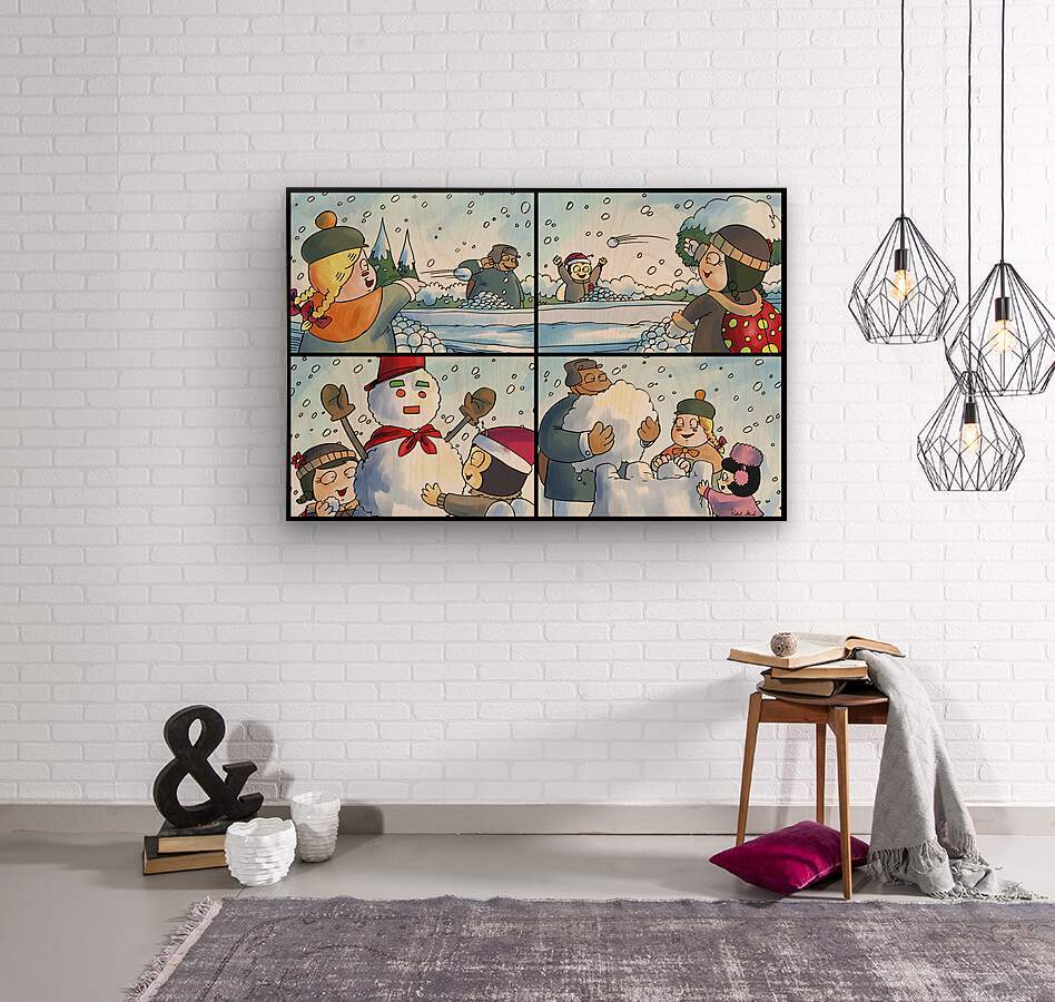Winter Wonderland Fun   Snowballs  Snowforts and Snowman   4 panel Favorites for Kids Room and Nursery   Bugville Critters  Wood print