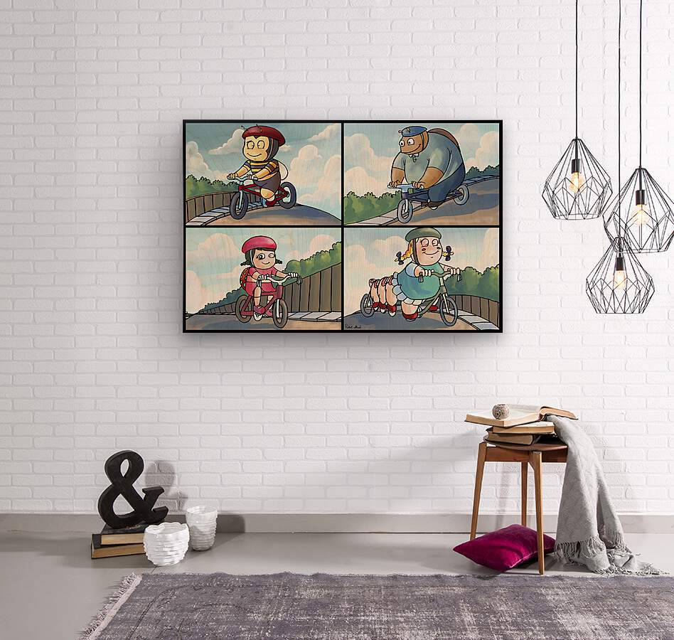 Time for a Bike Ride   Best Friends   4 panel Favorites for Kids Room and Nursery   Bugville Critters  Wood print