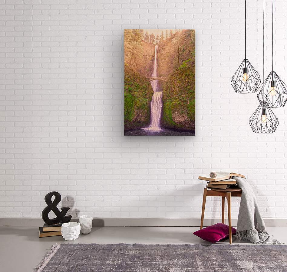 Multnomah Falls Bathed in Sunlight   Columbia River Gorge National Scenic Area   Oregon Pacific Northwest  Wood print
