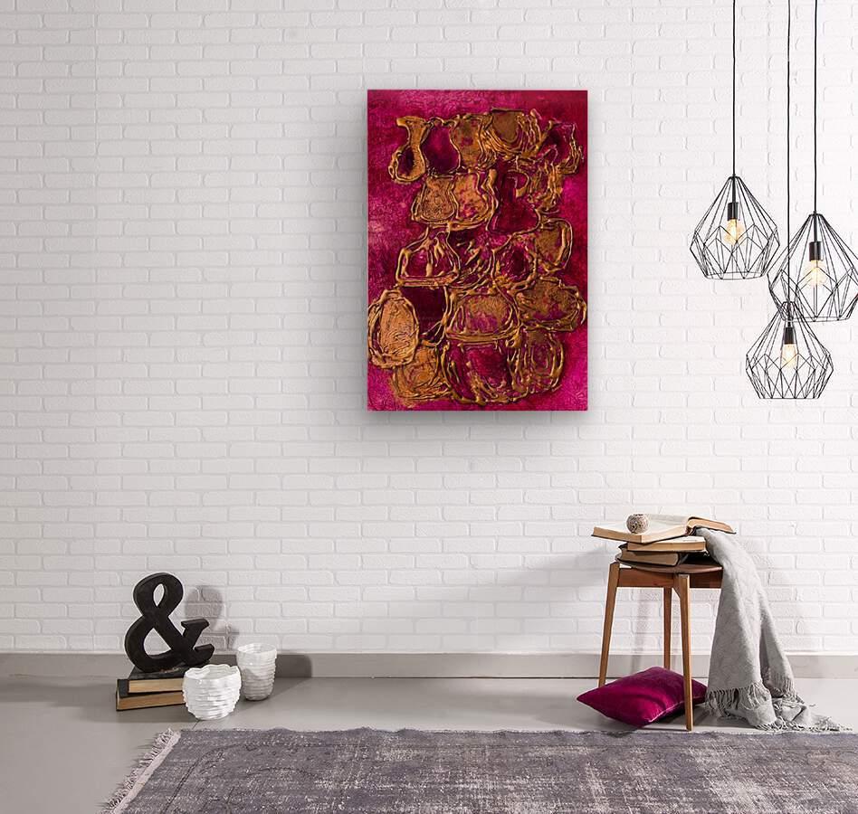 JARS - Original Abstract Acrylic Paint Printed on Canvas by: Rebecca Mangalindan  Wood print