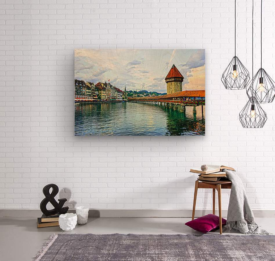 Chapel Bridge and Old Town at Sunset Lucerne Switzerland  Wood print