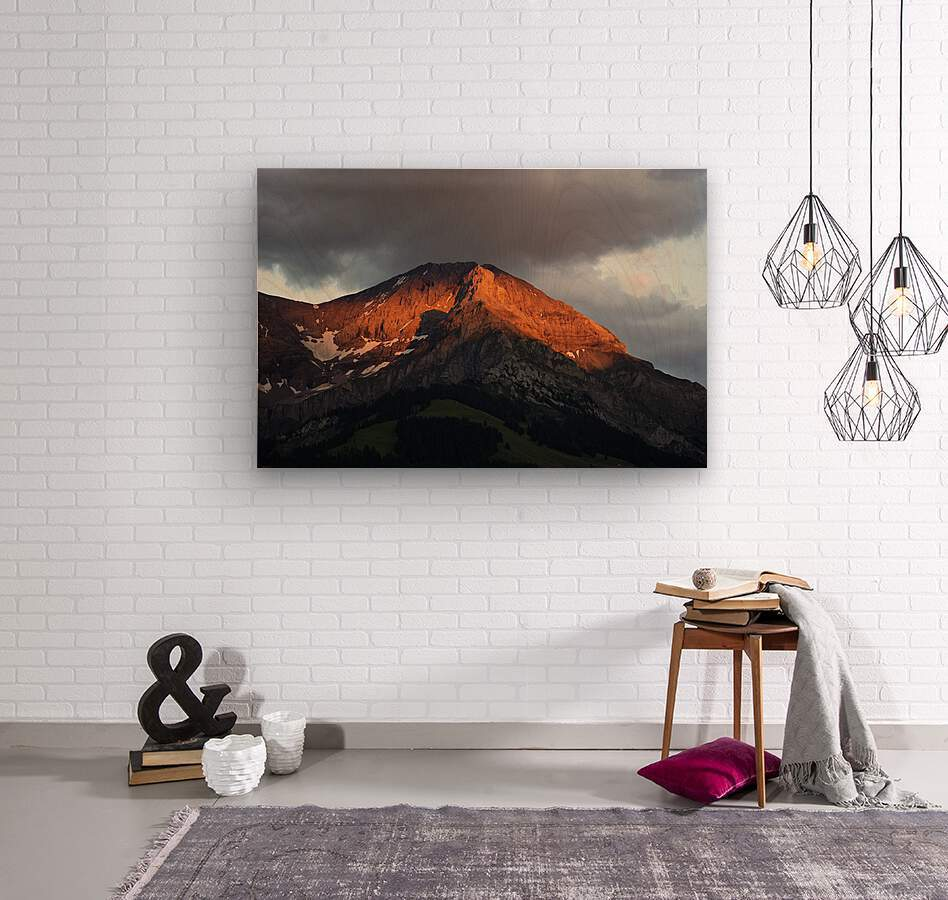 Mountain Bathed in the Golden Rays of the Sun at Sunset in Switzerland 3 of 3  Wood print