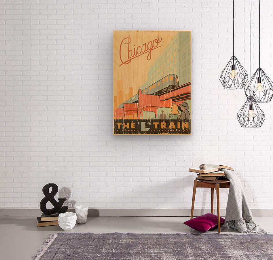 Chicago L Train Vintage Art Poster  Wood print