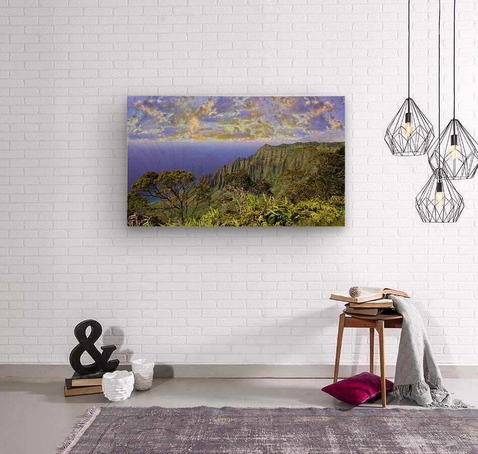 Sunset at Puu O Kila Lookout Kohala Mountains on the Island of Kauai in Hawaii Panorama  Wood print