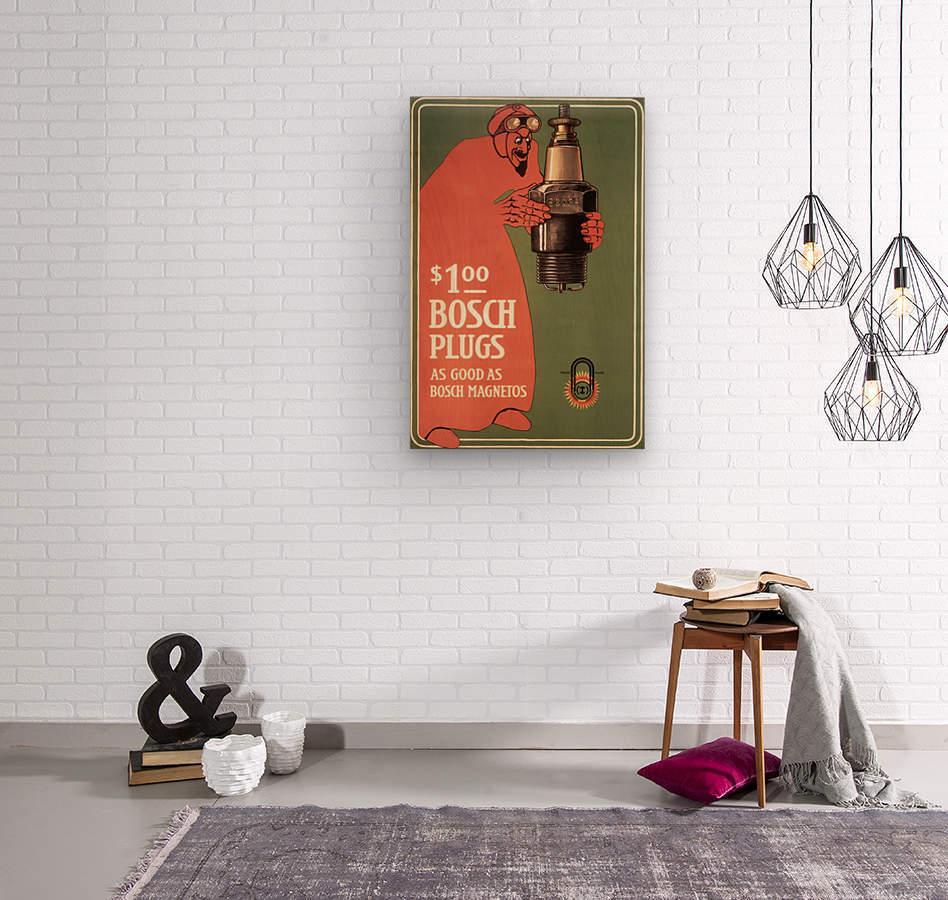 Vintage Bosch Spark Plugs Advertising Poster  Wood print