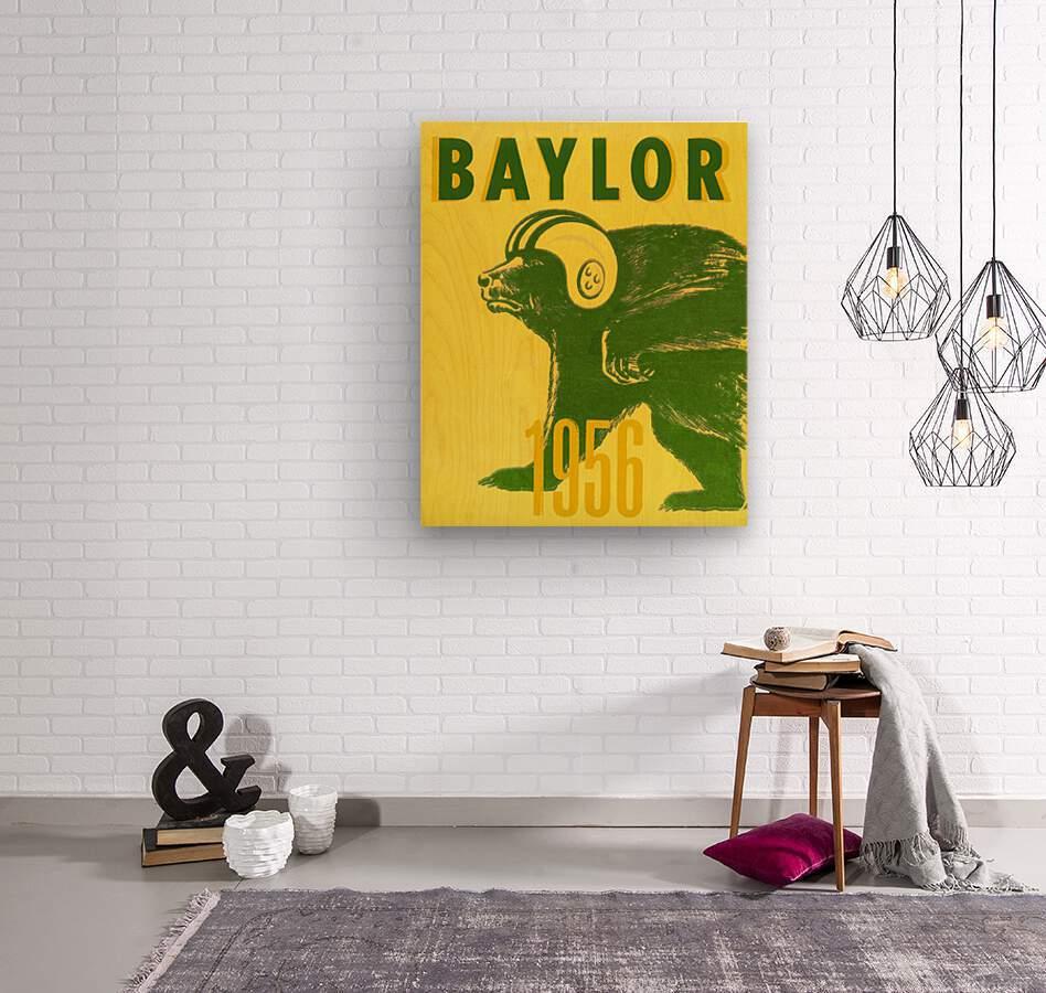 1956 Baylor Bears Vintage Football Art Remix  Wood print