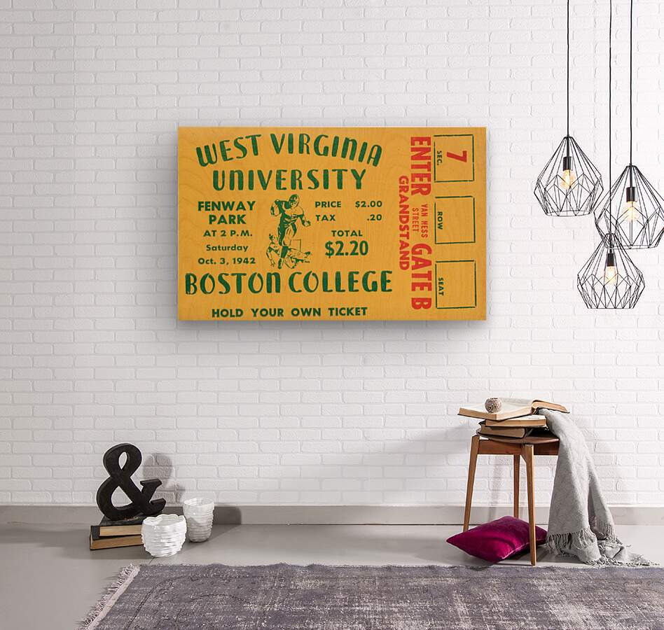 1942 Boston College Eagles vs. West Virginia Mountaineers  Wood print