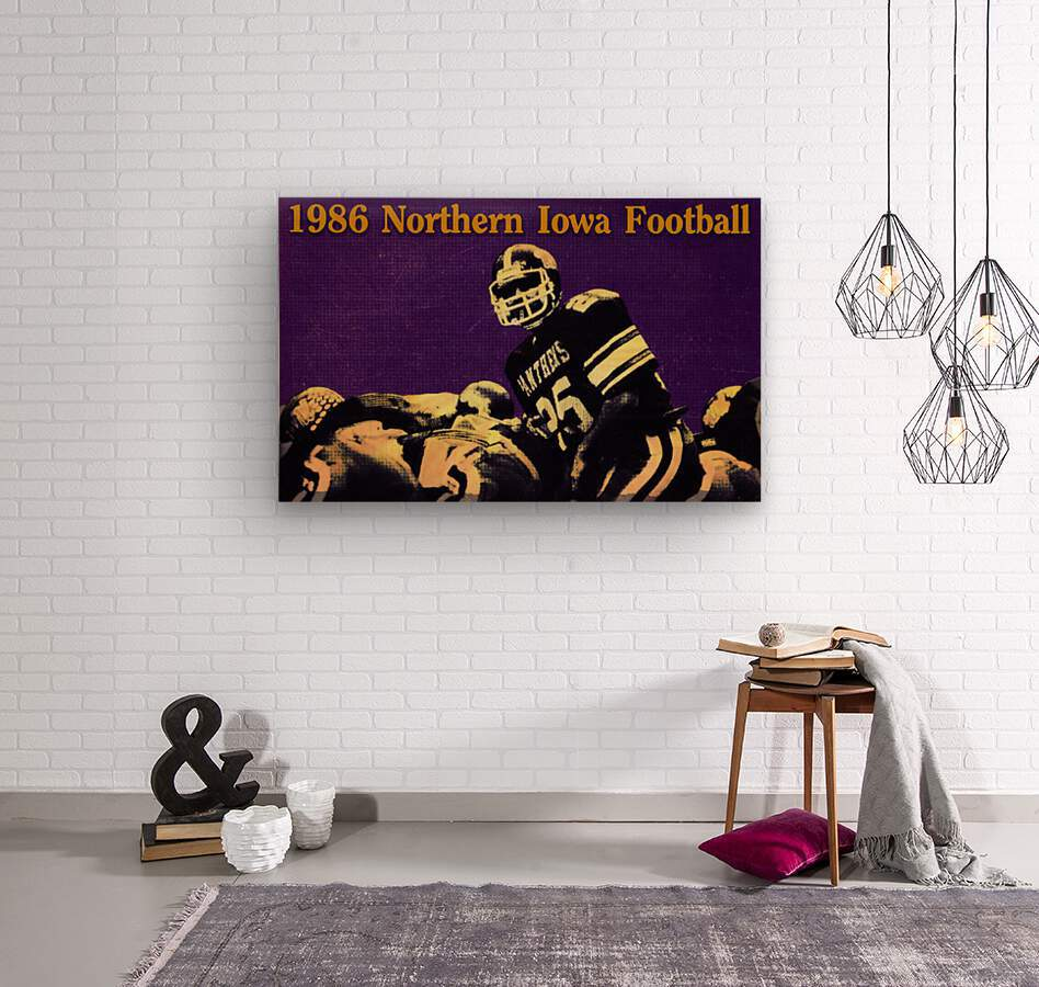 1986 Northern Iowa Panthers Football Poster  Wood print