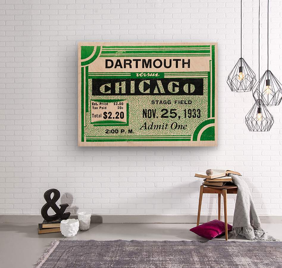 1933 Dartmouth Indians vs. Chicago Maroons  Wood print